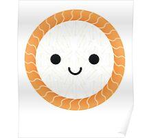 Salmon Maki Sushi Roll Emoji Happy Smiling Face Poster