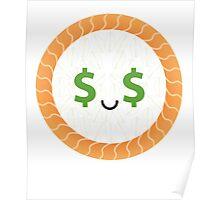 Salmon Maki Sushi Roll Emoji Money Face Poster