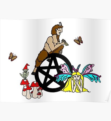 Faeries, Pan and a Pentacle Poster