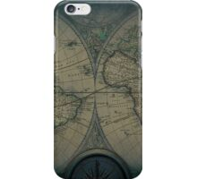 Old Map Of The World Grunge blueprint iPhone Case/Skin