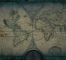 Old Map Of The World Grunge blueprint by Eti Reid