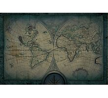 Old Map Of The World Grunge blueprint Photographic Print