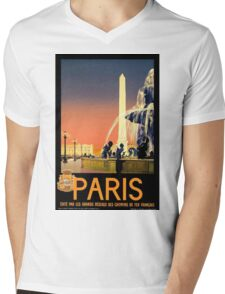 Vintage Travel Poster Paris France Mens V-Neck T-Shirt