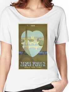 Vintage Travel Poster Paris France Orient Express Women's Relaxed Fit T-Shirt
