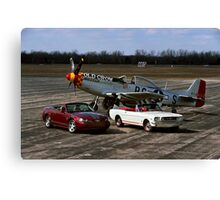 2004 Ford Mustang Anniversary with the 1965 Mustang and P51 Canvas Print