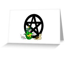Faerie with Racing Snail and Pentacle Greeting Card