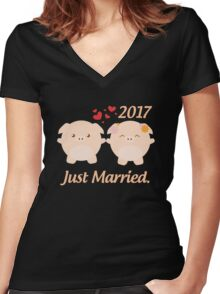 Just Married T Shirt - Best Gift for Couple. Women's Fitted V-Neck T-Shirt