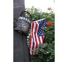 Patriotic Welcome; Wat Garden, La Mirada, CA USA (*challenge note 1;Vertical Lines on Can/Vertical Angle of lines of Flag; Challenge note 2; Commerative 911 Dedication 911 Read Description))  Photographic Print