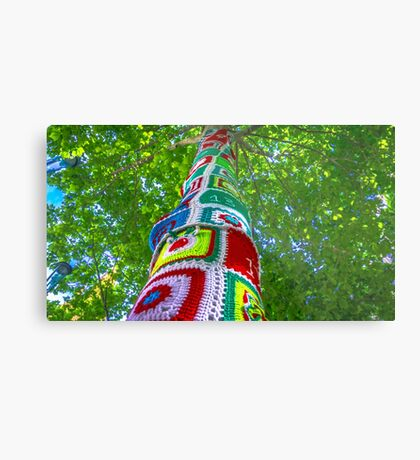 Christmas Yarnbombed Tree Metal Print