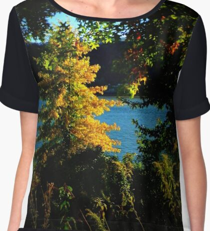 Fall On The Ohio River, Pittsburgh, PA  Chiffon Top