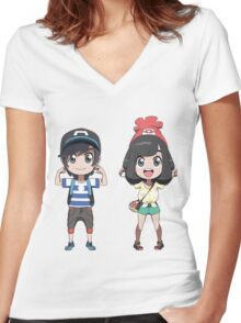 Pokemon Sun and moon trainers Women's Fitted V-Neck T-Shirt