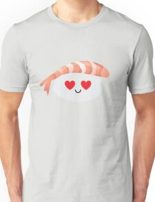 Shrimp Nigiri Sushi Emoji Heart and Love Eye Unisex T-Shirt