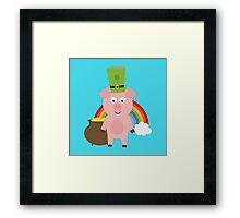 Pig with Patricks Day Hat Framed Print