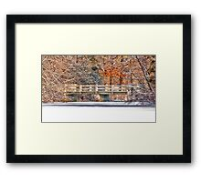 WHITE BRIDGE AFTER THE SNOW Framed Print