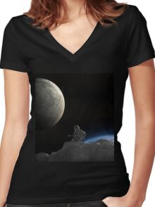 Music In Space Women's Fitted V-Neck T-Shirt