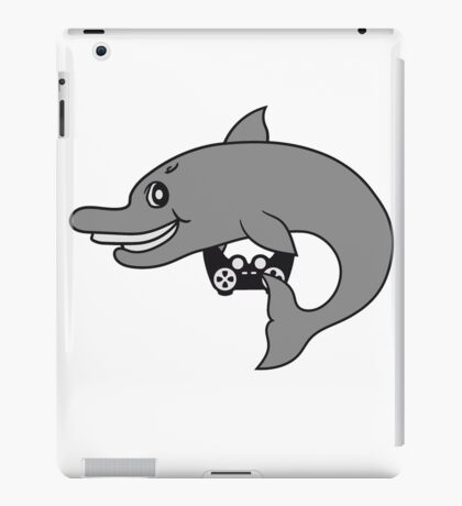 zocken zocker gamer spielen play controller spaß fun konsole computer nerd geek kleiner delfin süß niedlich frech comic cartoon grinsen lächeln lustig  iPad Case/Skin