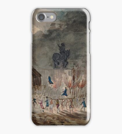 Fire on the Pont Neuf in Paris - 1788 iPhone Case/Skin