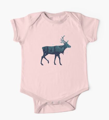Snowy Winter Forest with Deer One Piece - Short Sleeve