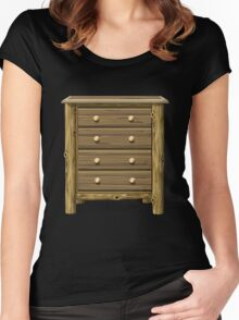 Glitch furniture smallcabinet log cabin cabinet Women's Fitted Scoop T-Shirt