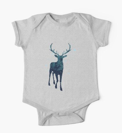 Snowy Winter Forest with Deer 2 One Piece - Short Sleeve