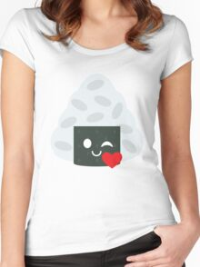 Onigiri Rice Ball Emoji Flirt and Blow Kiss Women's Fitted Scoop T-Shirt