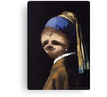 The Sloth in the Pearl Earring Canvas Print