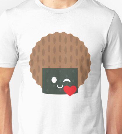 Seaweed Rice Cracker Emoji Flirt and Blow Kiss Unisex T-Shirt