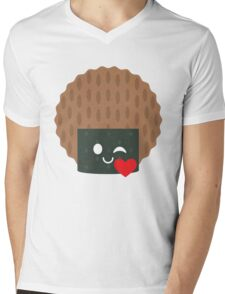 Seaweed Rice Cracker Emoji Flirt and Blow Kiss Mens V-Neck T-Shirt