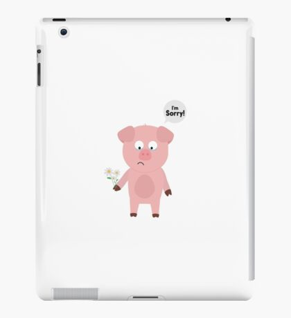 Pig Apologize with flowers iPad Case/Skin