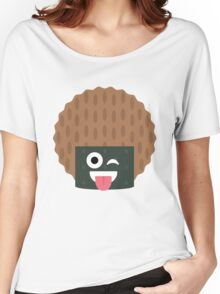 Seaweed Rice Cracker Emoji Wink and Tongue Out Women's Relaxed Fit T-Shirt