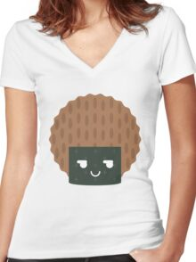 Seaweed Rice Cracker Emoji Cheeky and Up to Something Women's Fitted V-Neck T-Shirt