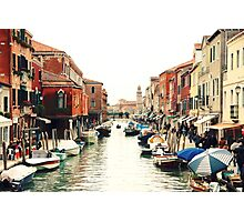 Venice Canal + Boats + Houses Photographic Print