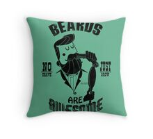 Beards are Awesome black Throw Pillow