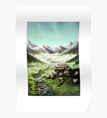 Green Field and Far Mountains Landscape Poster