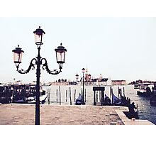 Pink Lamplights in Venice Photographic Print