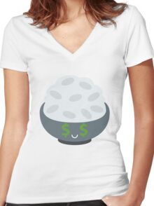 Rice Bowl Emoji Money Face Women's Fitted V-Neck T-Shirt