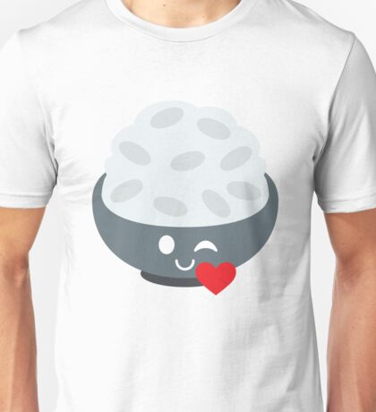 Rice Bowl Emoji Flirt and Blow Kiss Unisex T-Shirt