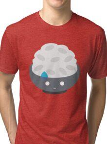 Rice Bowl Emoji Speechless with Sweat Tri-blend T-Shirt