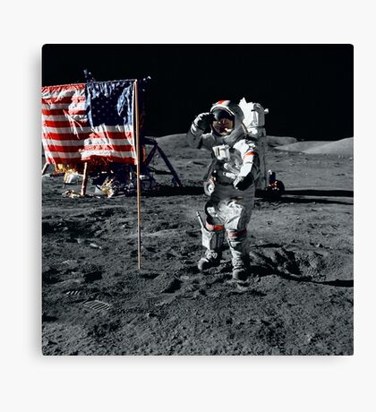 Apollo 17 astronaut salutes the United States flag on the lunar surface. Canvas Print