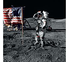 Apollo 17 astronaut salutes the United States flag on the lunar surface. Photographic Print