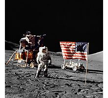 Apollo 17 astronaut stands near the United States flag on the lunar surface. Photographic Print