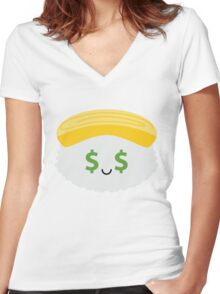 Egg Sushi Emoji Money Face Women's Fitted V-Neck T-Shirt