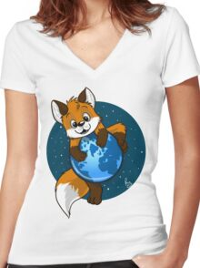 Cute Firefox Women's Fitted V-Neck T-Shirt