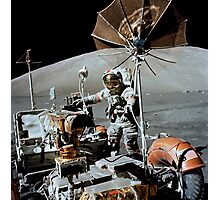 Apollo 17 astronaut approaches the parked Lunar Roving Vehicle. Photographic Print