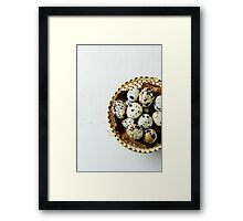 Food background with quail eggs Framed Print