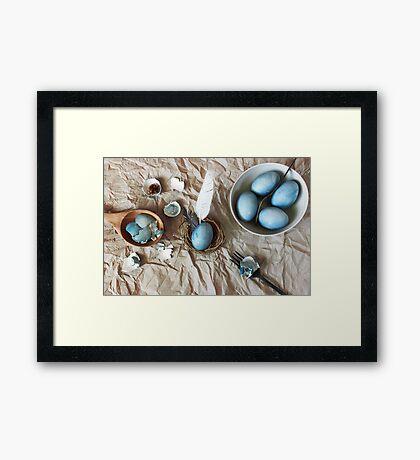 Still life with blue easter eggs Framed Print