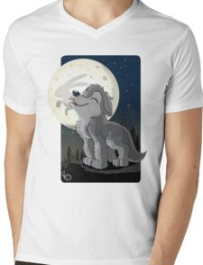 Little Wolf Howling Mens V-Neck T-Shirt