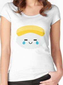 Egg Sushi Emoji Teary Eye of Joy Women's Fitted Scoop T-Shirt