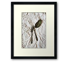 Vintage cutlery on a paper background Framed Print