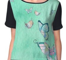 butterflies on a lite blue watercolor background Chiffon Top